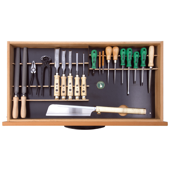 Ulmia Werkzeugsatz 309 für Unterbauschrank in Draufsicht