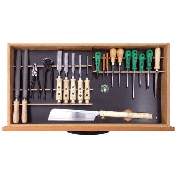 Ulmia Werkzeugsatz 314 für Unterbauschrank in Draufsicht